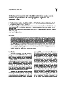 evaluation of diets Different levels of dietary soybean meal (sbm) as a fish meal (fm) replacer, with and without amino acid supplementation, for whiteleg shrimp, litopenaeus vannamei reared in the biofloc system was examined in eight weeks of feeding trial eight experimental diets consisted of a basal diet with 0% fm replacement by sbm.